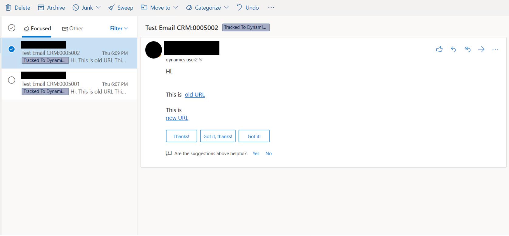 Results dynamics user inbox