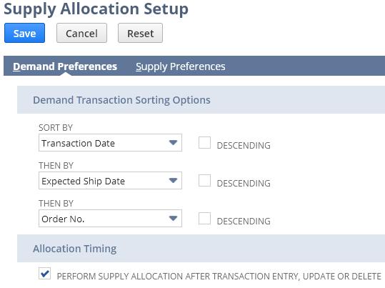 Supply Allocation Preferences